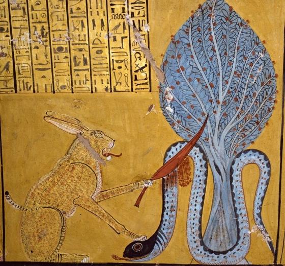 Бог Египта Ра (в образе кота) убивающий змея Апопа.