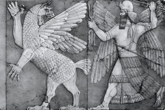 Сын Энлиля бог Нинурта с помощью своих ударов молнии преследует Анзу(Анзуда).