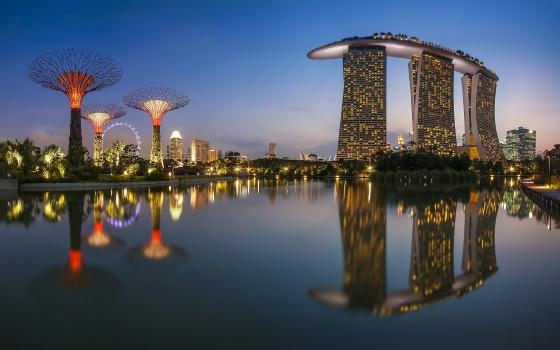 Вид Сингапур - закат.