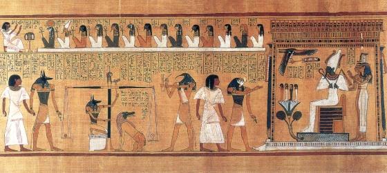 Книга мертвых фрагмент изображающий суд Осириса.