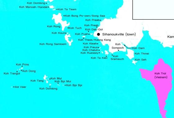 Острова Сиануквиля на карте.