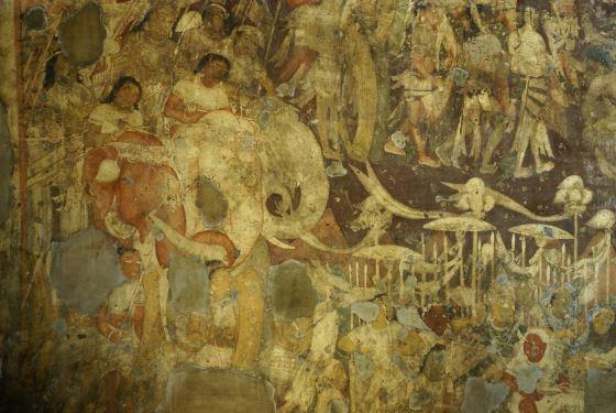 Росписи пещерных храмов Аджанты, наше фото фресок.