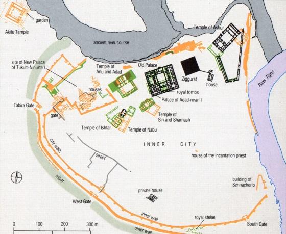 Город Ашшур и приблизительная карта.