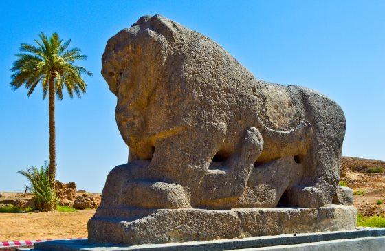 Вавилон город древний, Вавилонский лев - статуя.