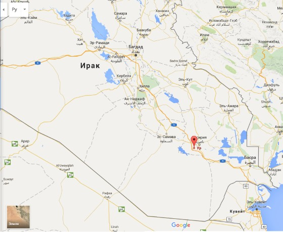Карта Ирака город Ур.