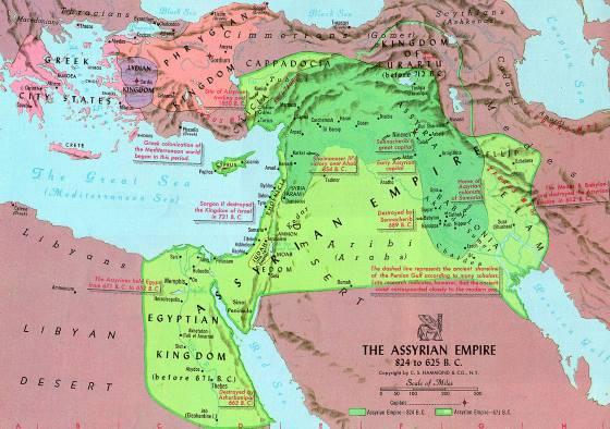 Ассирия на карте мира.