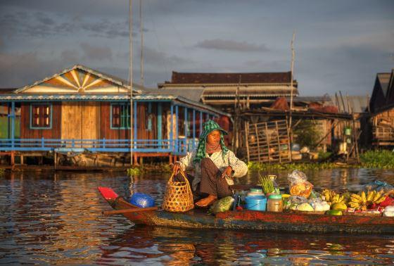 Знаменитая плавучая деревня в Камбодже