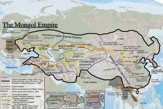 Империя Чингисхана и его Наследников в границах современной карты мира.