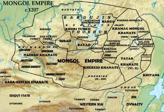 Карта - монгольская империя на 1207 год