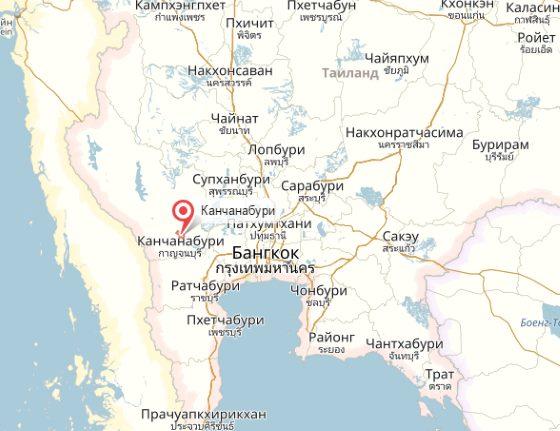 Город Канчанабури на карте.