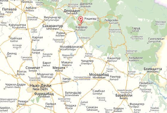 Ришикеш на карте Индии, находится рядом со столицей.
