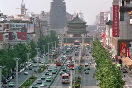 Город Сиань главная улица - Китай достопримечательности.
