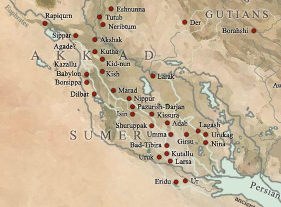 Шумер - карта с городами, достижения шумеров.