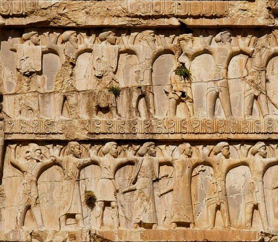 Фрагмент - Солдаты Ксеркса I всех национальностей империи на гробнице Ксеркса I, в Накше-Рустам