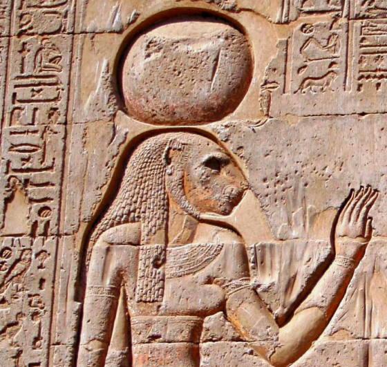 Богиня Менхит ancient-east.ru изображение на внешней стене храма бога Хнума в городе Эсне(Исна)